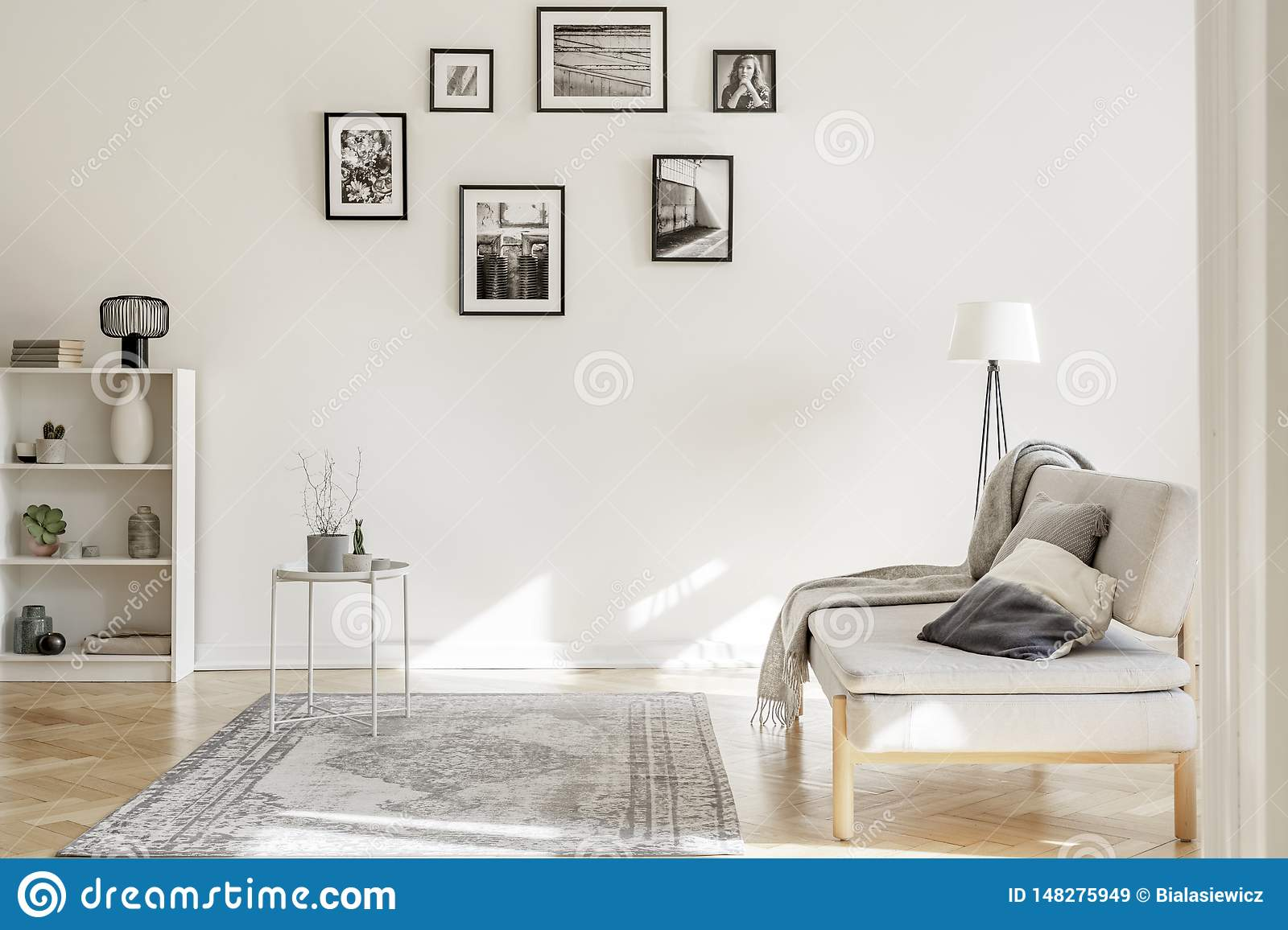 Gallery of black and white posters on the wall of classy living room interior