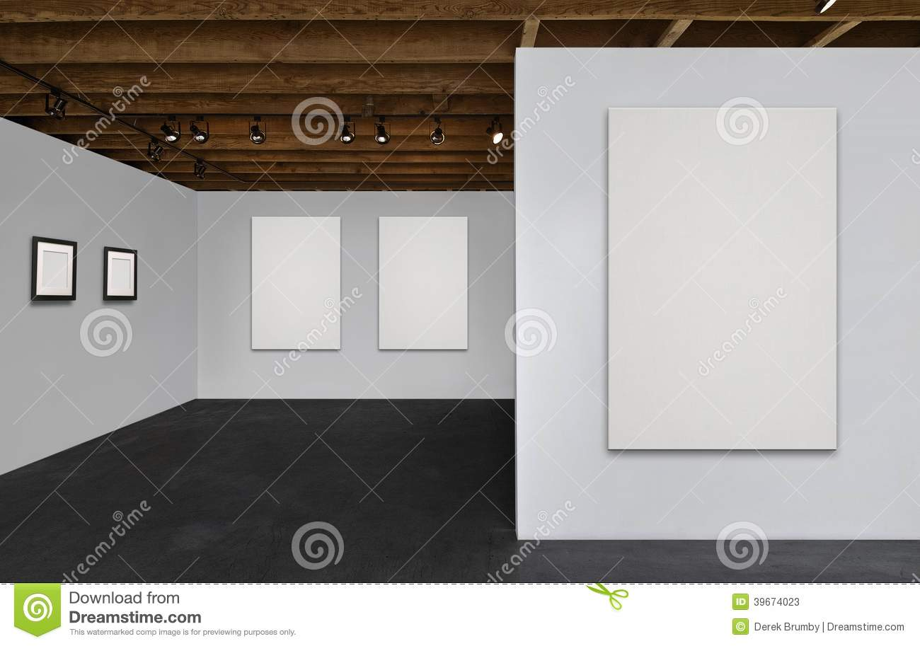 Gallery With Blank Canvases And Empty Frames Stock Image