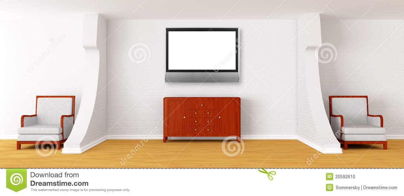 Gallery with chairs bureau and lcd tv stock photo image for Bureau gallery
