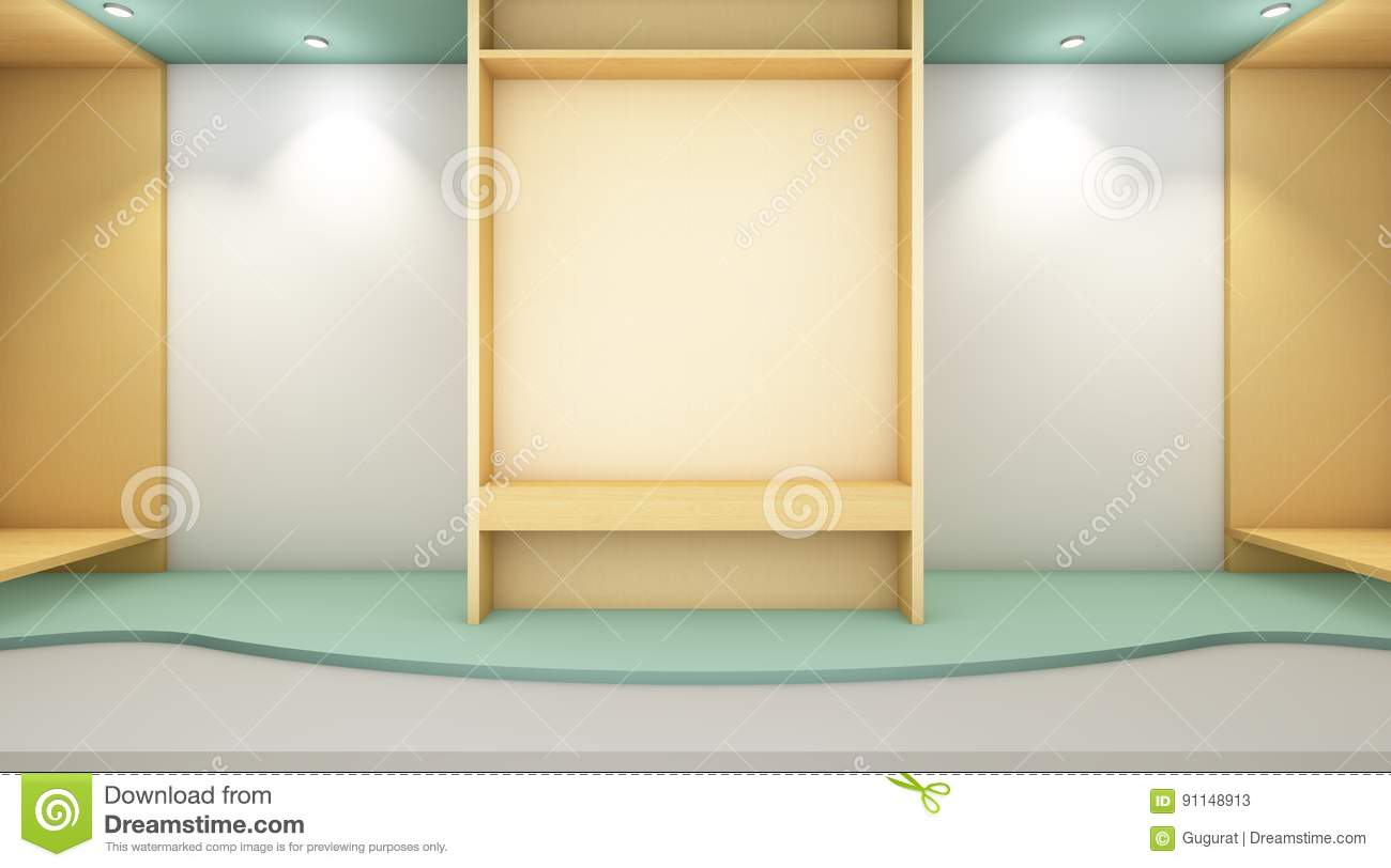 Gallery Exhibition Modern Style And Wall Wood Stock Illustration ...
