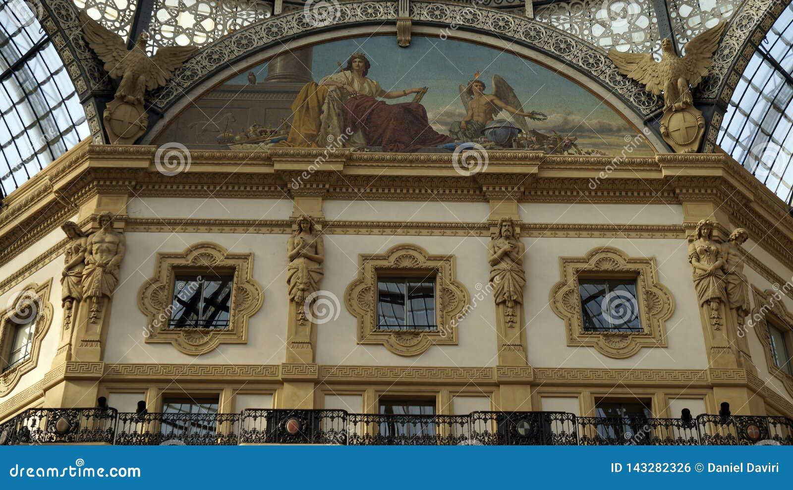 Gallery Vittorio Emanuele II, art details. Milan.Italy