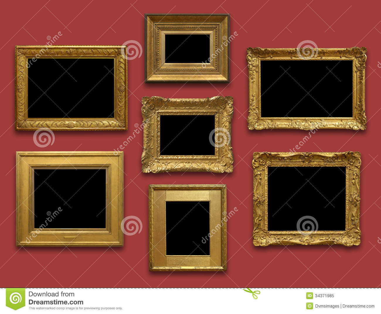 gallery wall gold frames