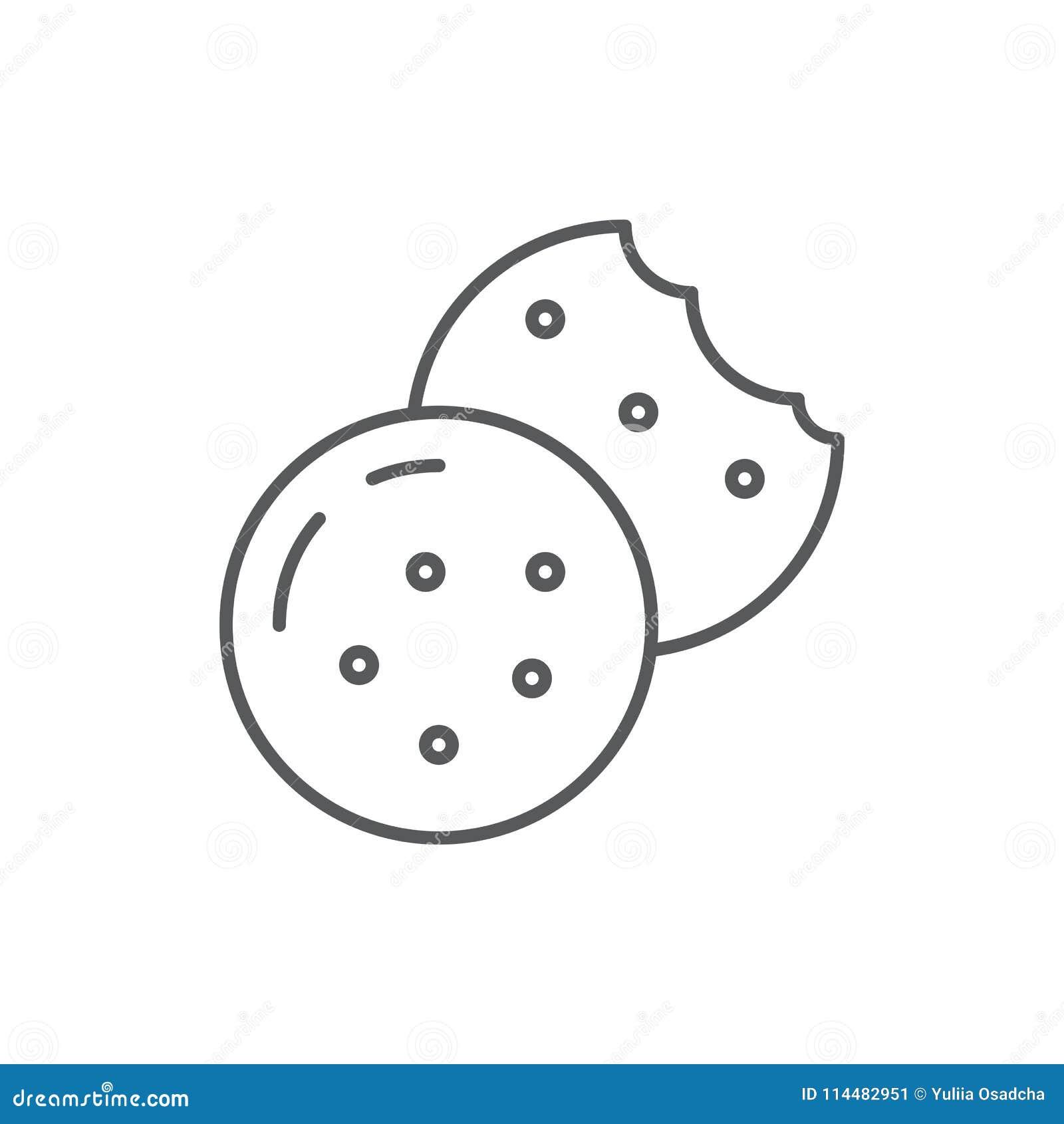 Galleta con la línea editable icono de los microprocesadores de chocolate - ejemplo perfecto del vector del pixel de la panadería