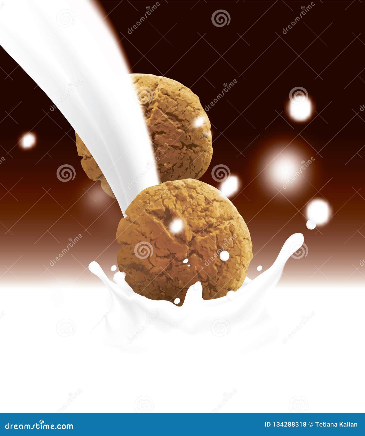 Galletas marrones redondas que caen en la leche de colada blanca Ejemplo realista del vector con color borroso del chocolate