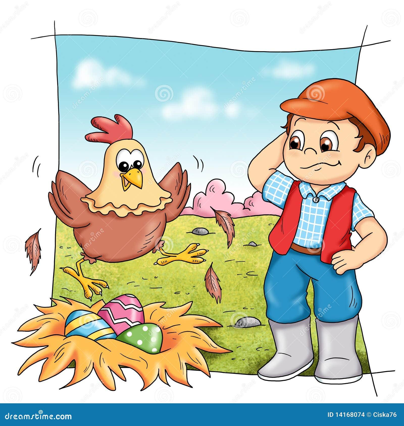 Gallina in azienda agricola