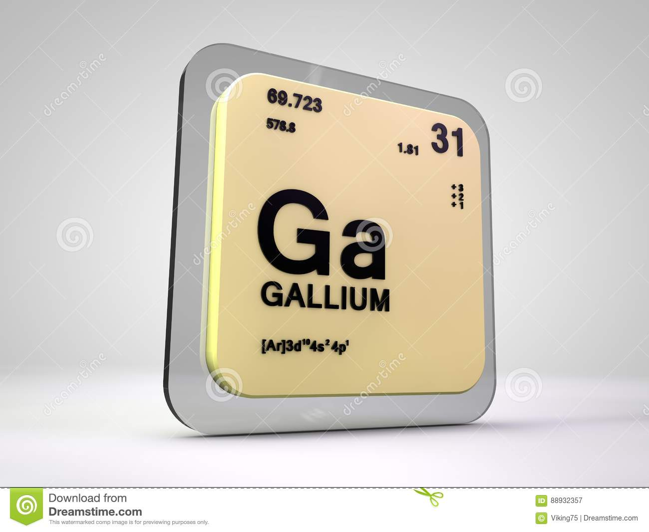 Gallium Ga Chemical Element Periodic Table Stock Illustration