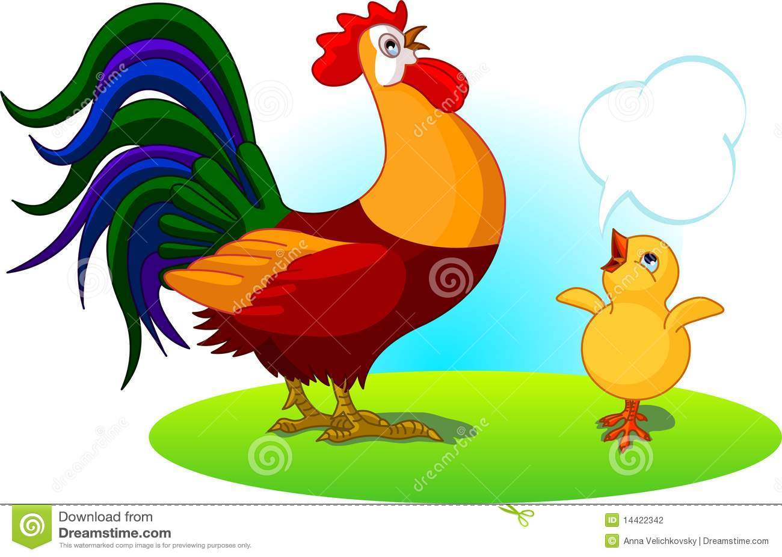 Gallo del padre y polluelo del bebé