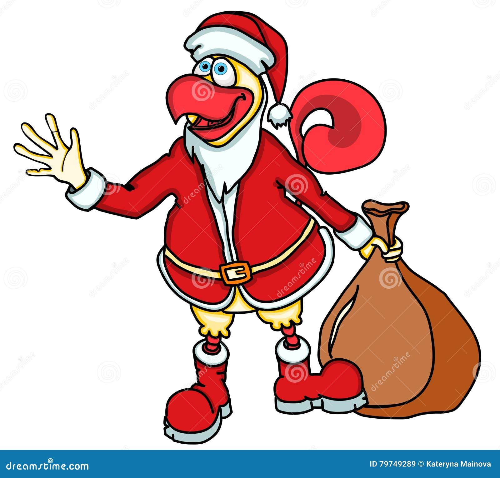 Gallo divertido de la historieta, el símbolo del Año Nuevo 2017 en el calendario chino bajo la forma de Santa Claus con un bolso