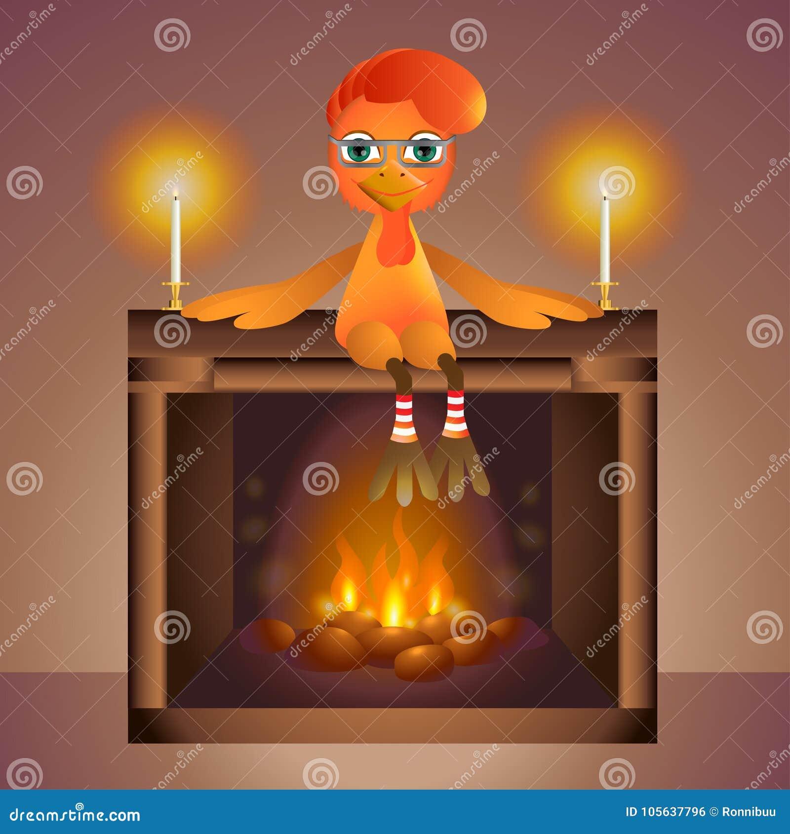 Gallo sul caminetto con fuoco e le candele