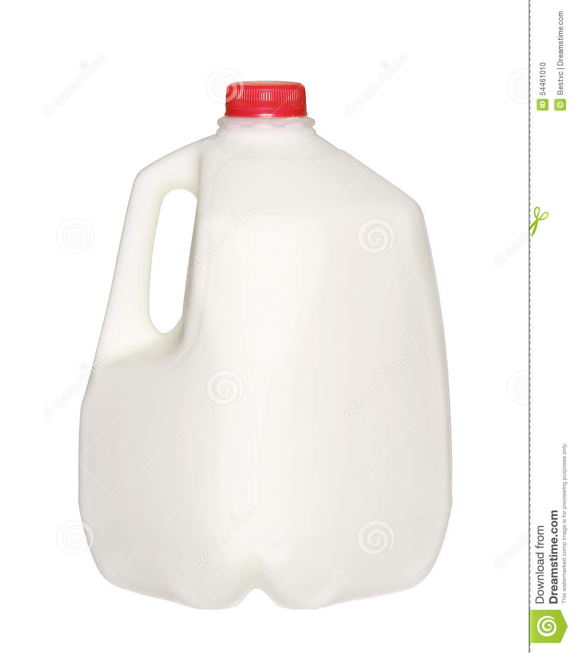 Gallon Milk Bottle With Red Cap On White Stock Photo