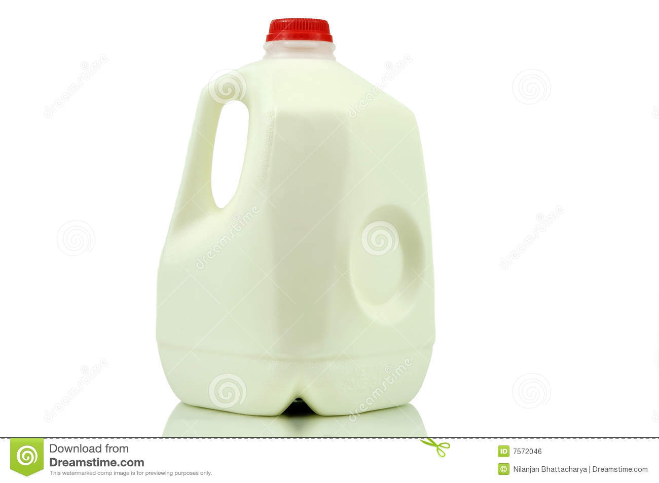 One gallon of milk container isolated on white with clipping path.