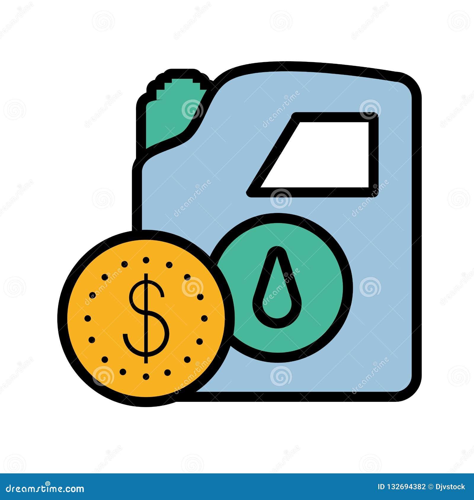 Gallone Benzin mit Münzgeld
