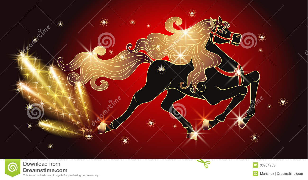Galloping Black Horse With Golden Mane Royalty Free Stock Photos ...