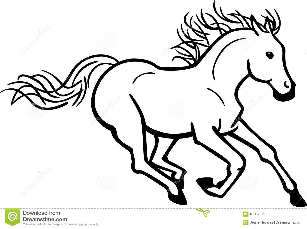 Jpg To Line Drawing : Galloping horse stock vector image