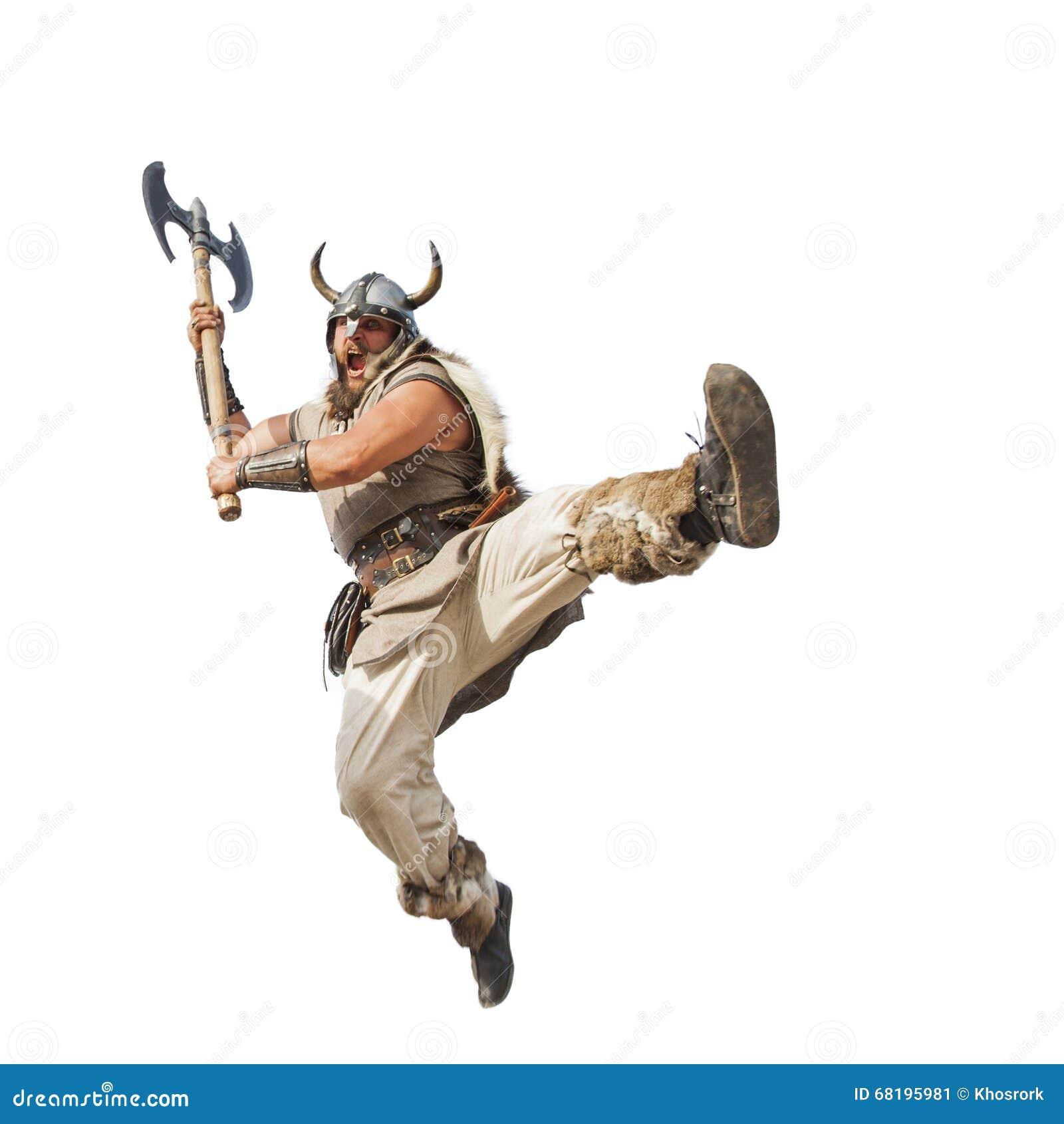 Galna starka viking som isoleras på vit bakgrund
