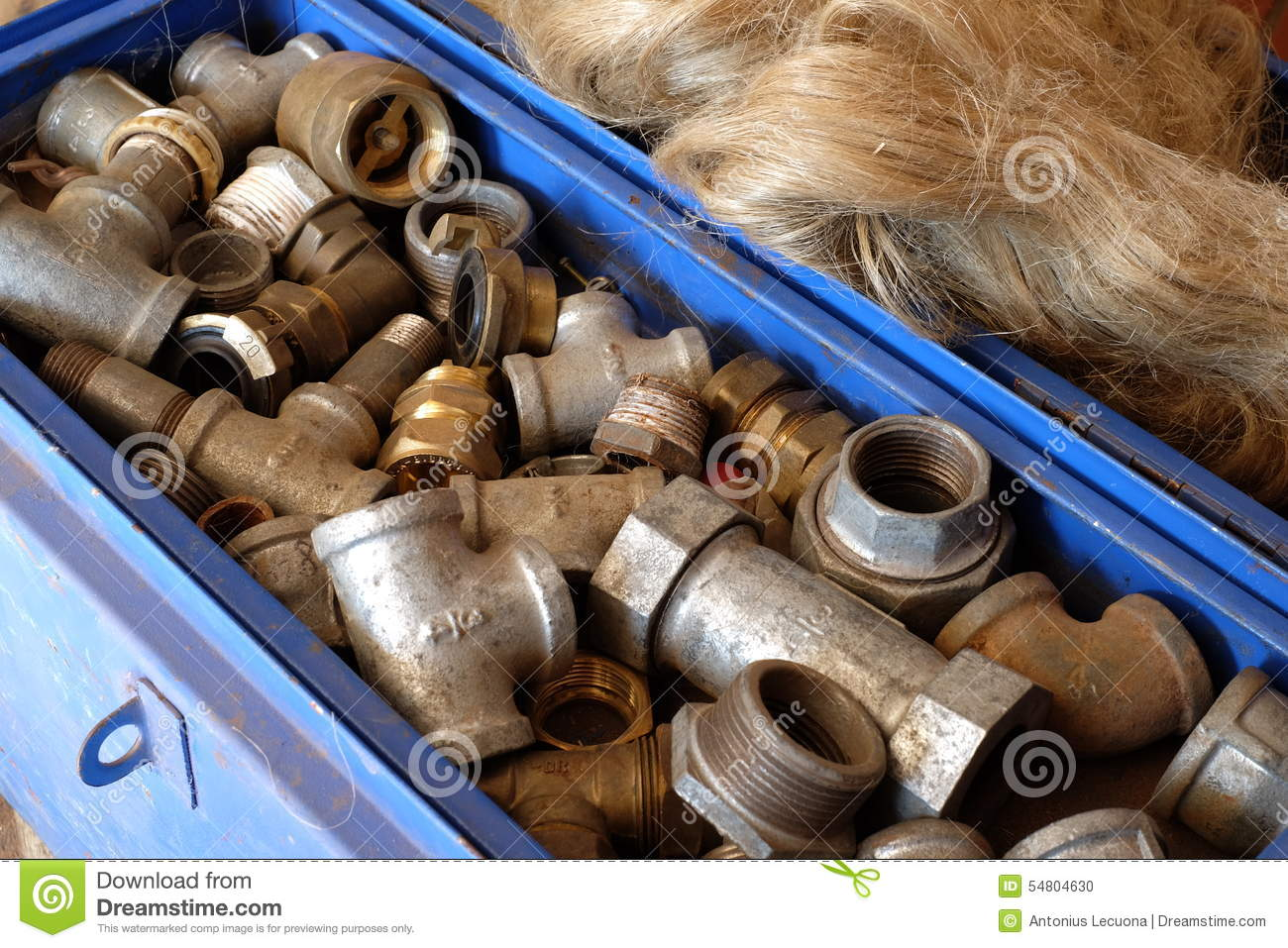 Galvanized pipe fittings stock photo image of full