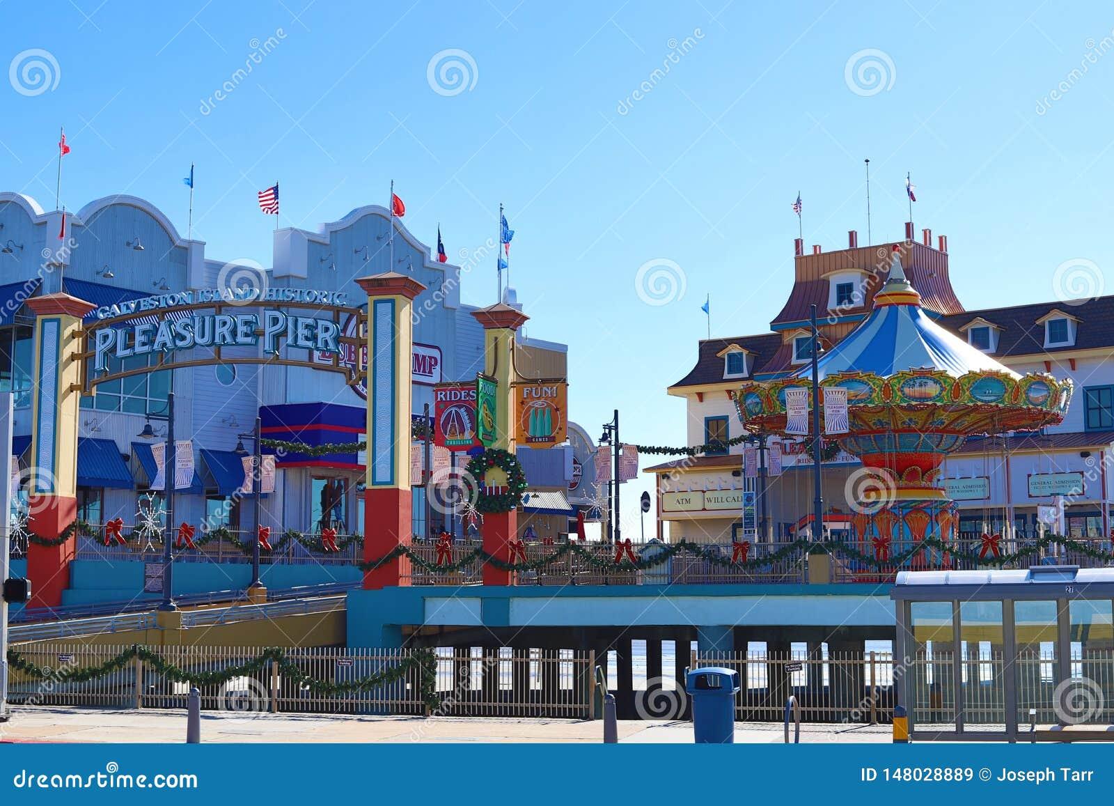 Galveston Island Historic Pleasure Pier decorated for Christmas.