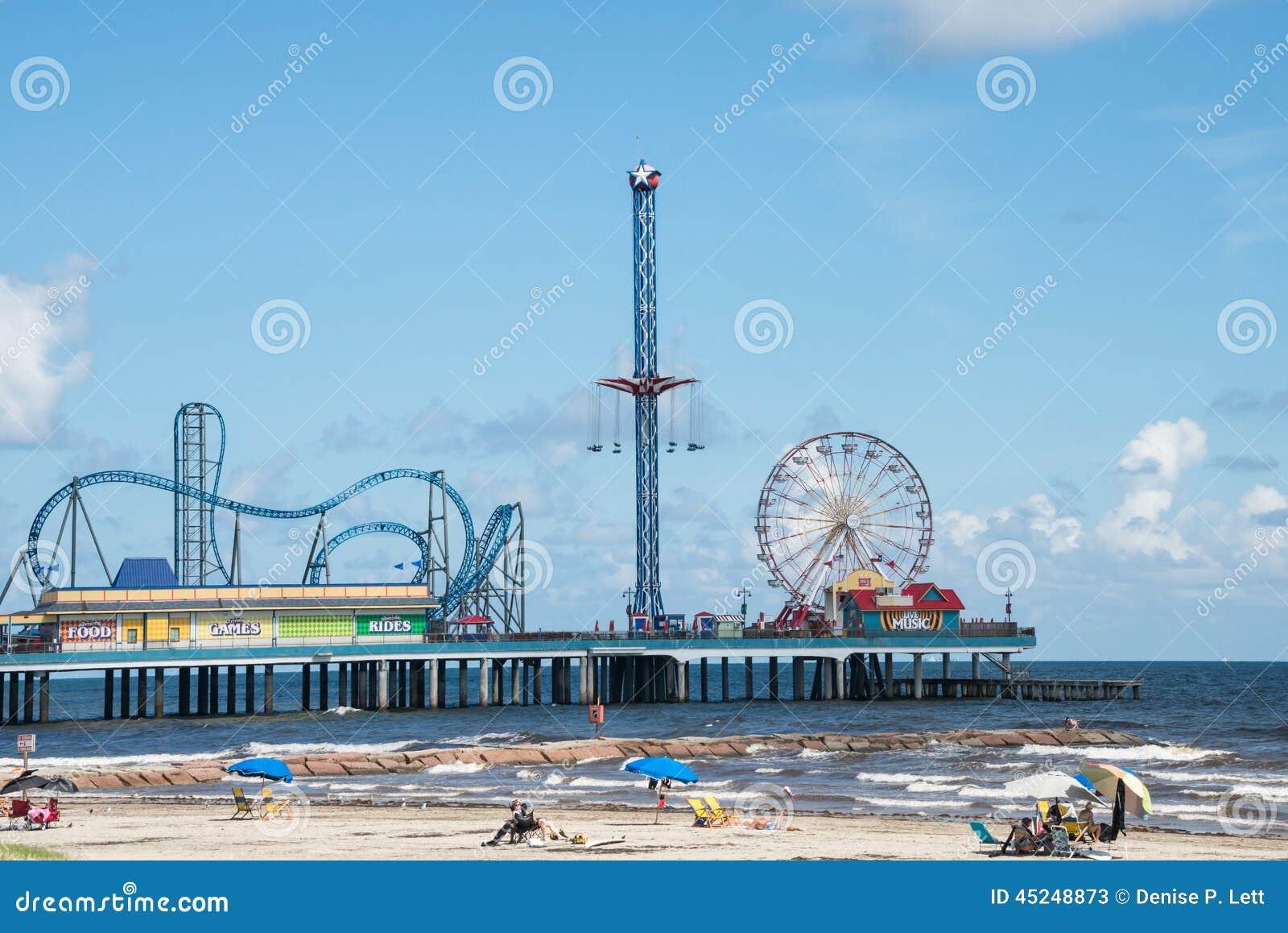 Galveston Pleasure Pier And Beach Editorial Stock Photo