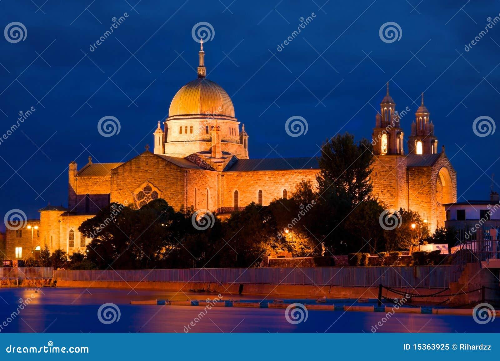 Galway Cathedral illuminated at night