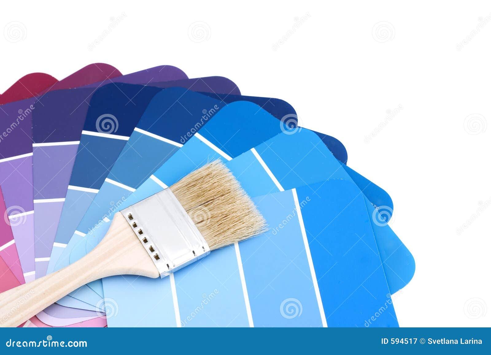 Gama De Colores Azul Con El Cepillo Imagen de archivo Imagen de