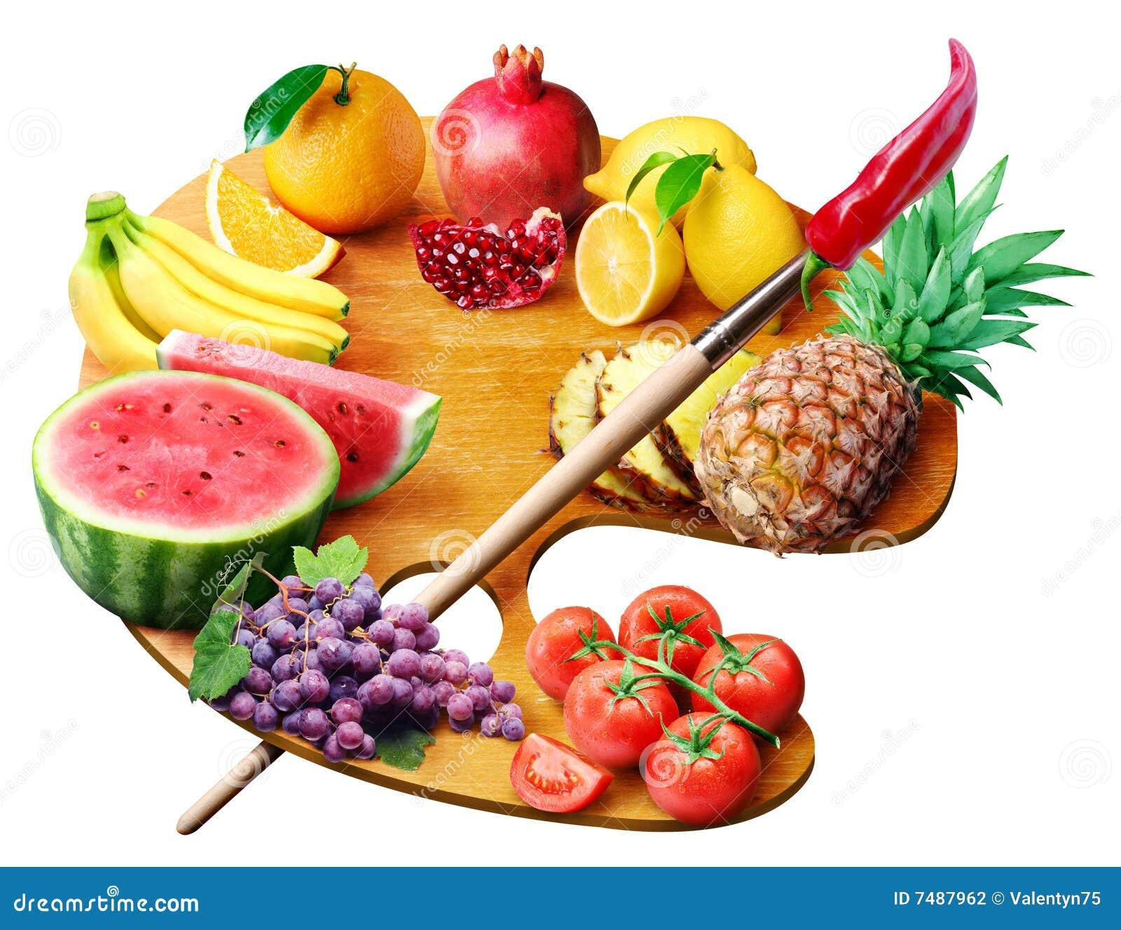 Gama de colores de la fruta