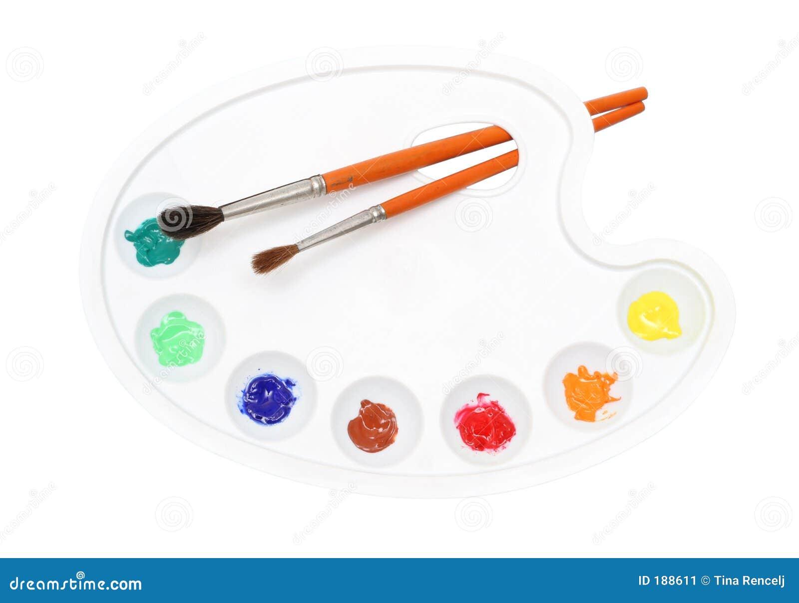 Gama de colores de los pintores sobre blanco