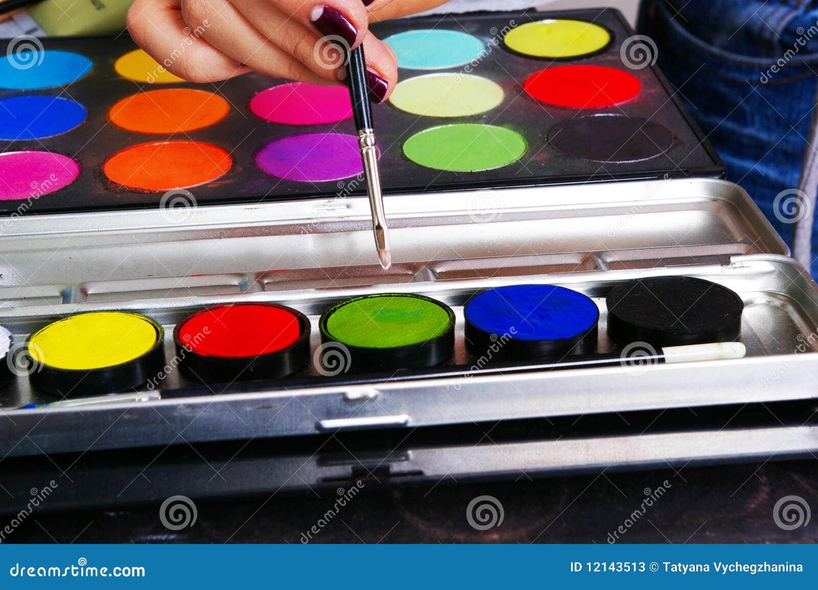 Gama de colores de una pintura de grasa fotos de archivo for Gama colores pintura