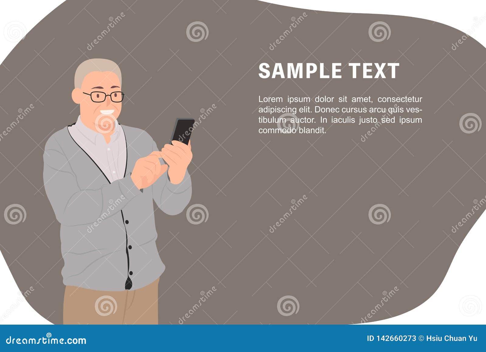 Gamal man för mall för baner för design för tecknad filmfolktecken som hög lyckligt ser den smarta telefonen