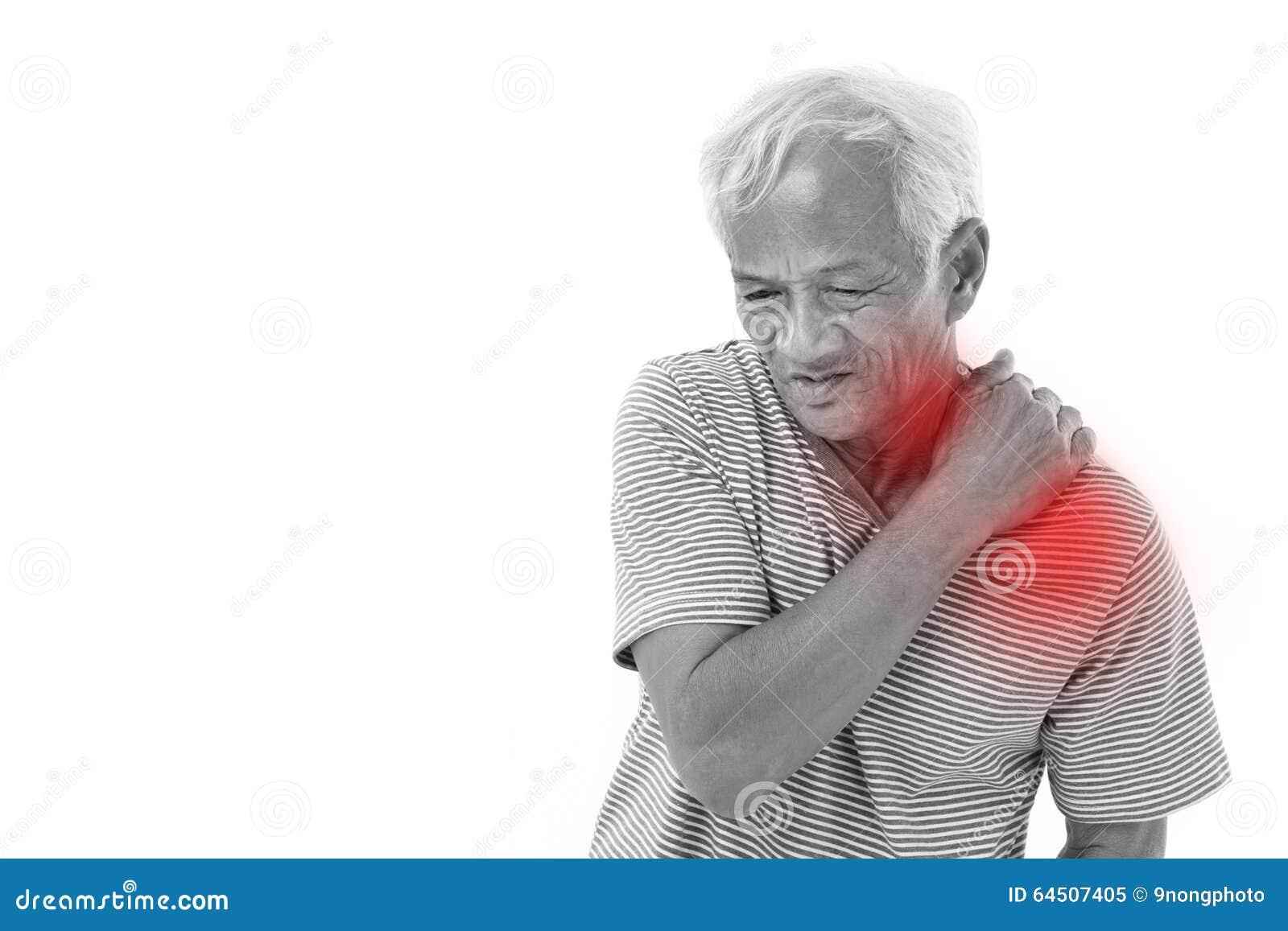 Gamal manlidande från skuldramuskelinflammation eller skada