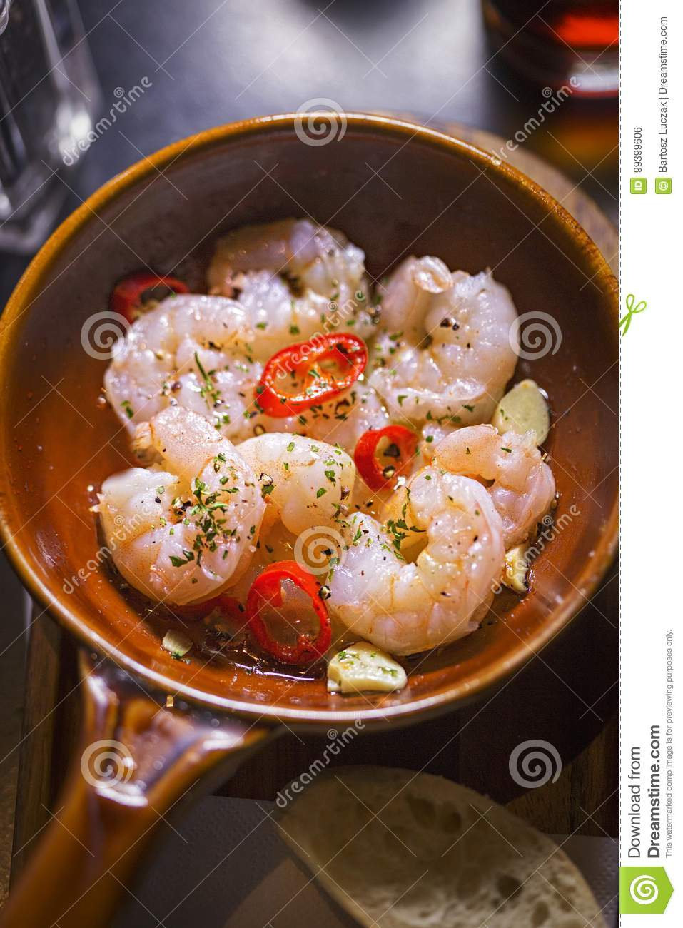 Gambas Al Ajillo Prawns Cooked In Virgin Oil With Garlic And Chilli Stock Photo Image Of Peppersn Delicious 99399606