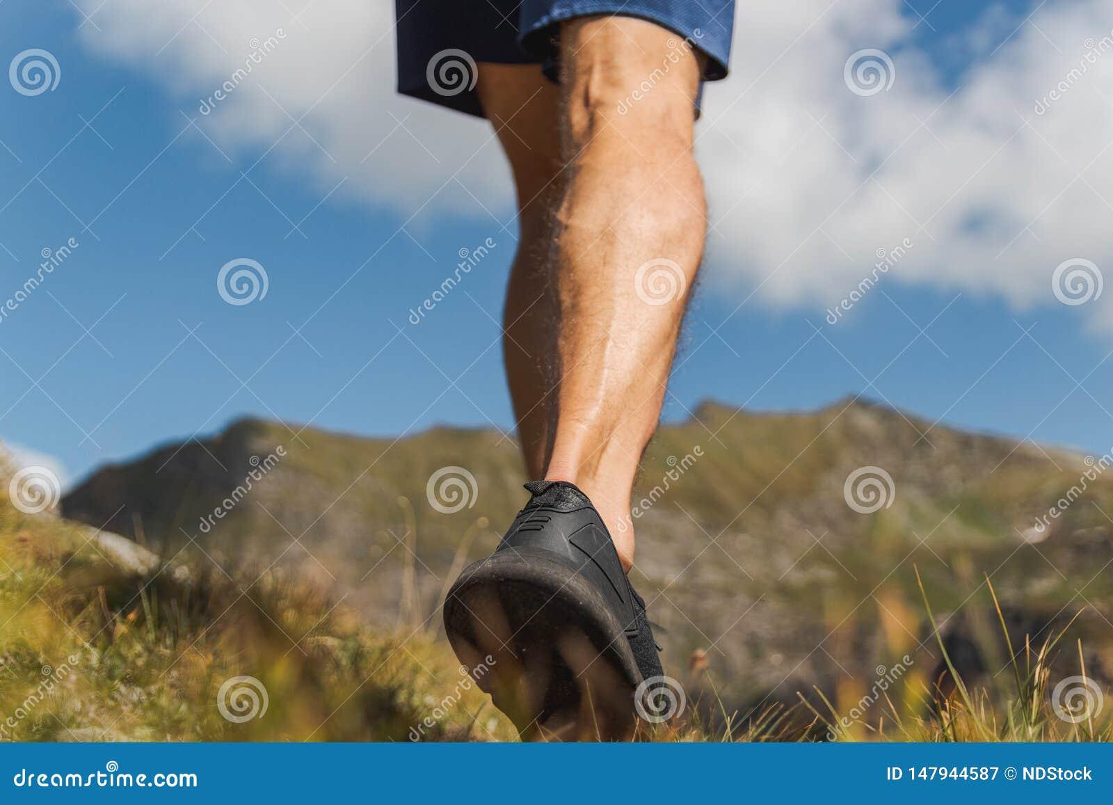 Gambe dell uomo forte che camminano sulla traccia nelle montagne