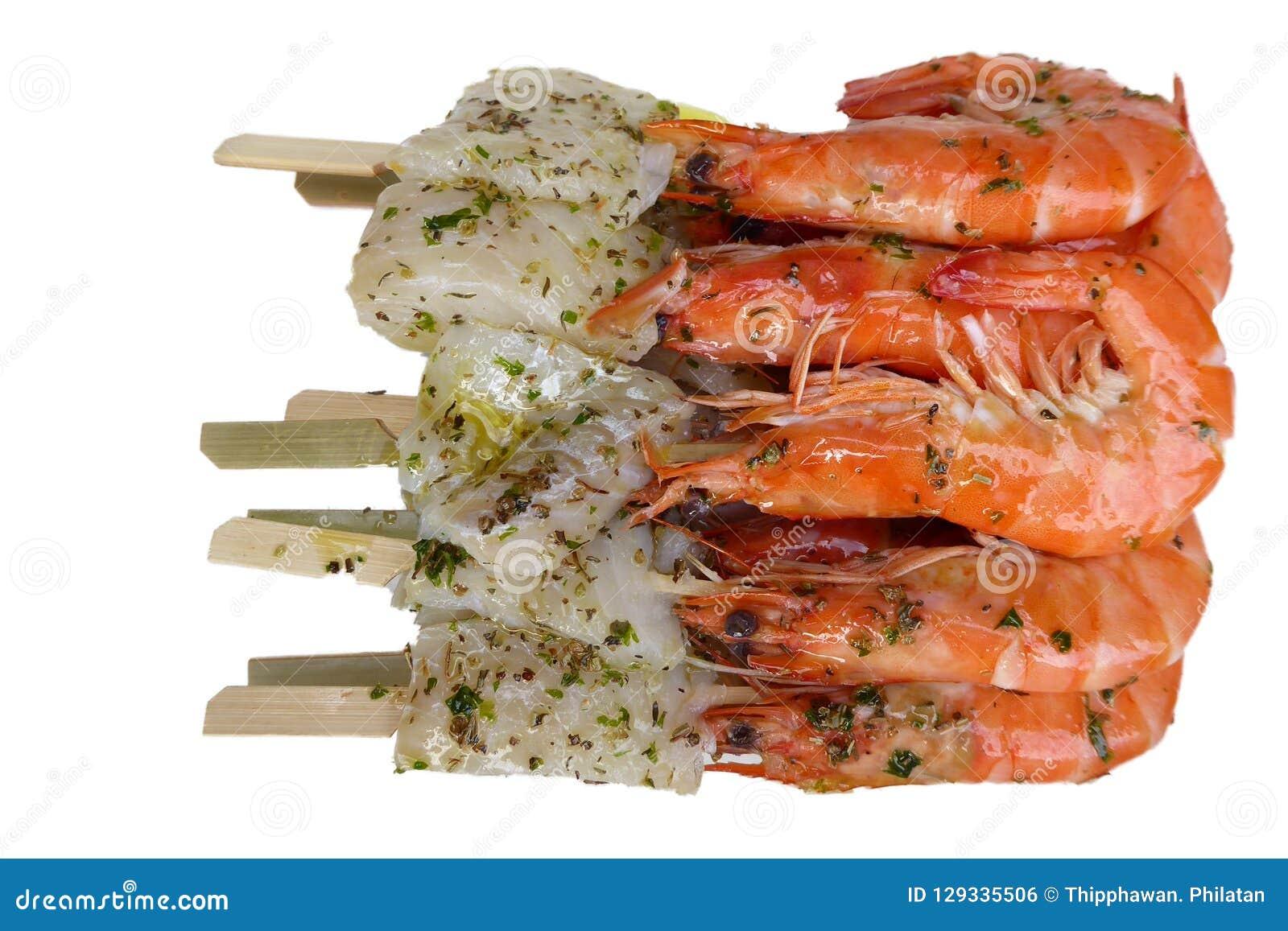 Gamberetti E Pesce Per Il Barbecue Fotografia Stock Immagine Di
