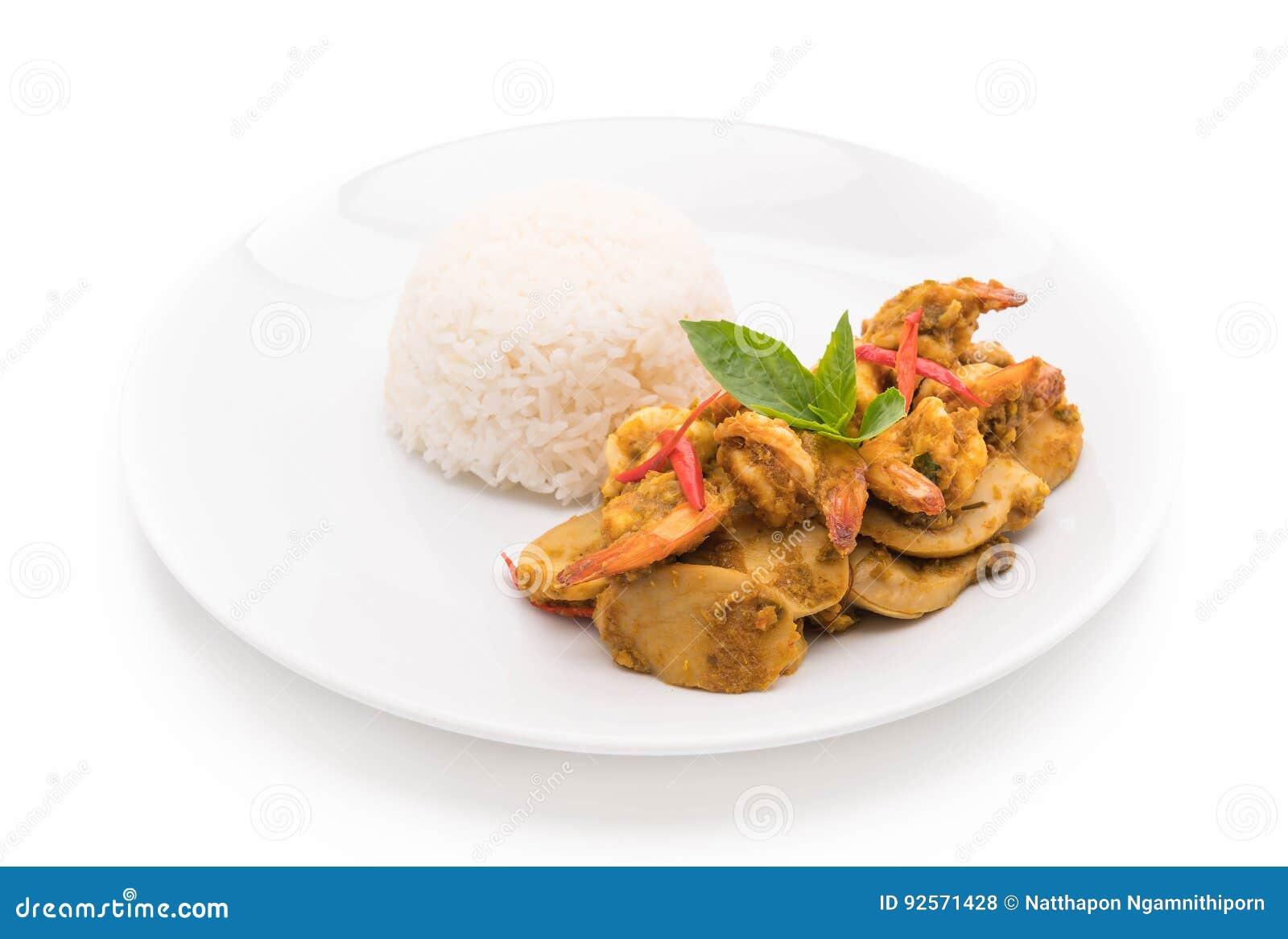 Gamberetto fritto scalpore e curry verde