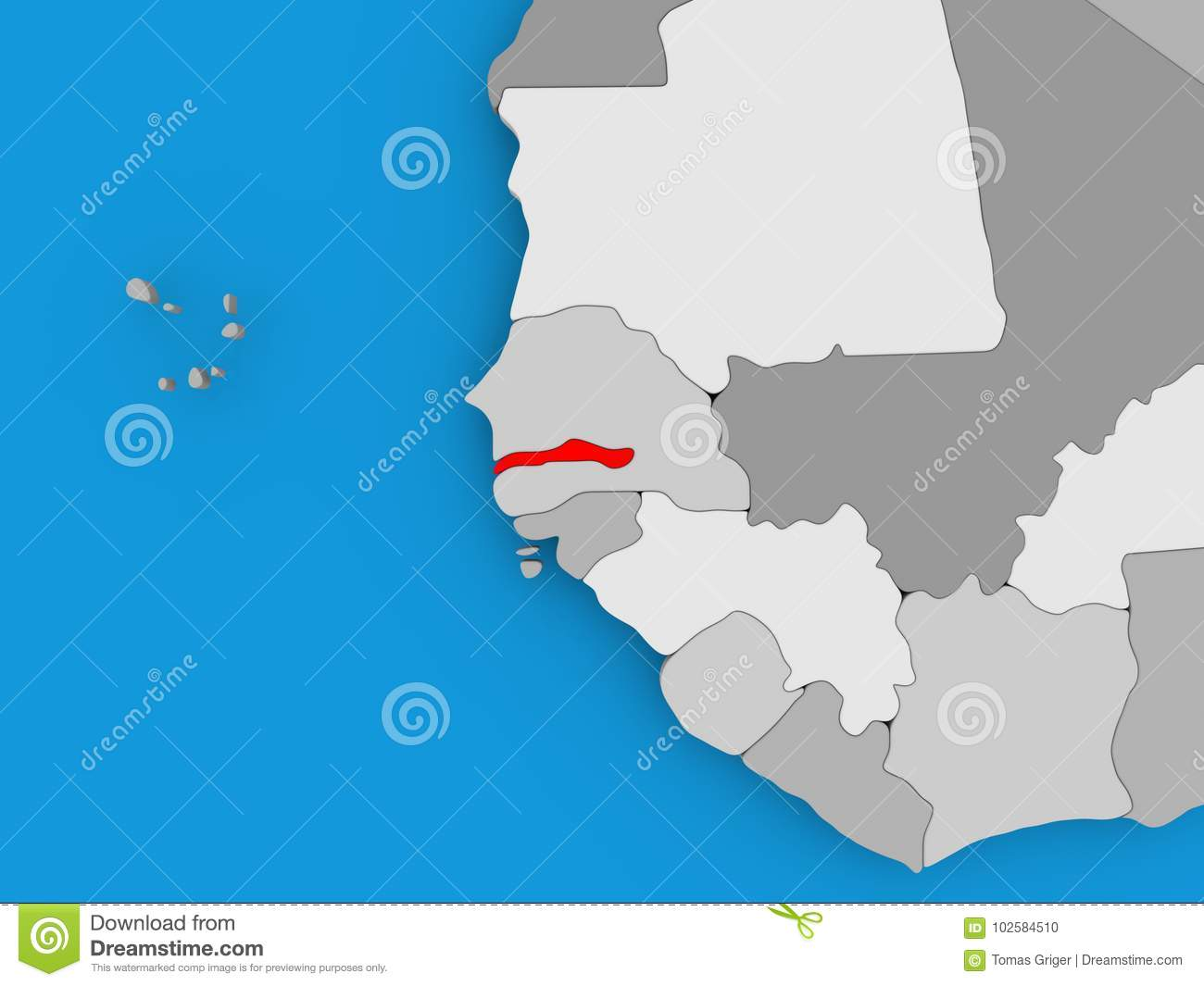 Gambia On Africa Map.Map Of Gambia Stock Illustration Illustration Of Africa 102584510