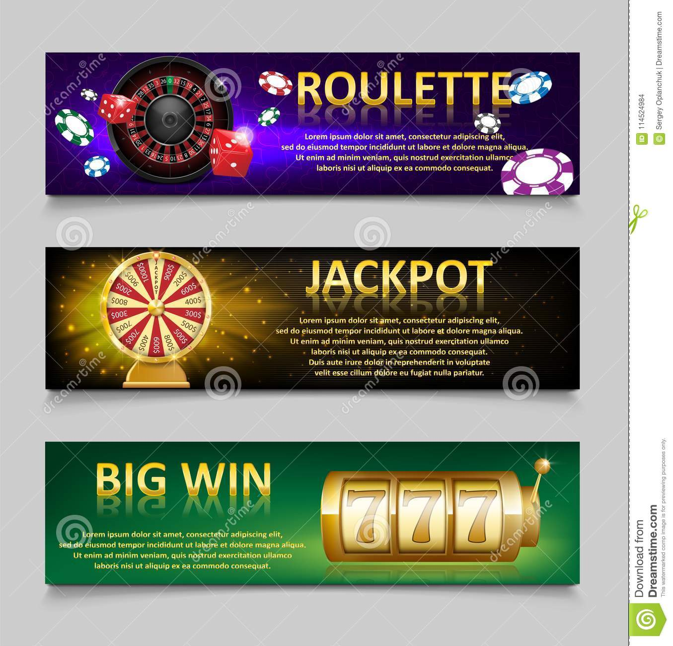 Gambling banners with Roulette Wheel and Casino Chips, lottery machine, gold fortune wheel set. Casino jackpot banner