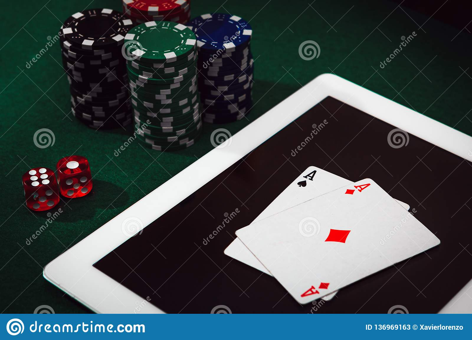 Gambling Addiction On Internet Bet And Win Money Playing Poker Online Casino Chips Cards And Dices Stacking On A Laptop Stock Image Image Of Online Casinos 136969163