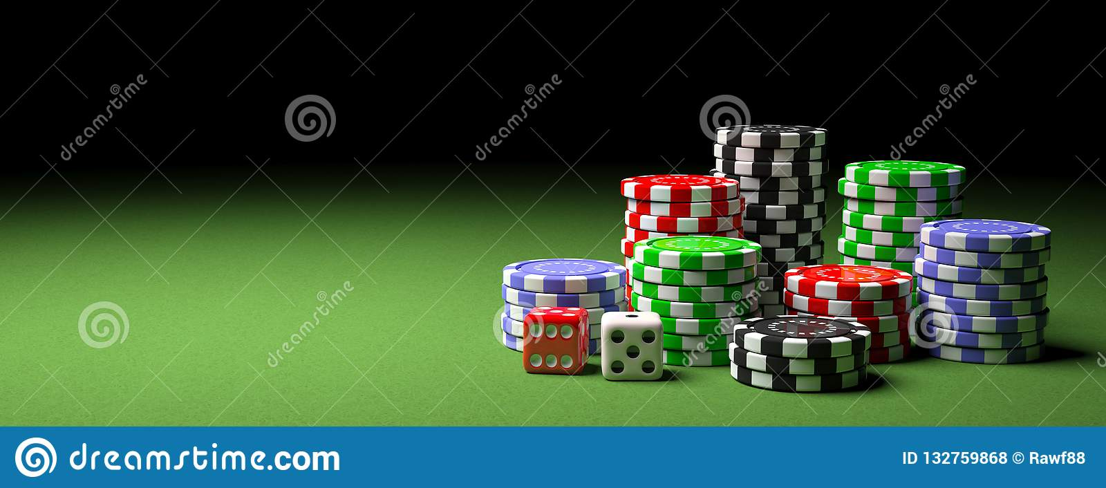 Poker chips piles and dice on green felt, banner, copy space. 3d illustration