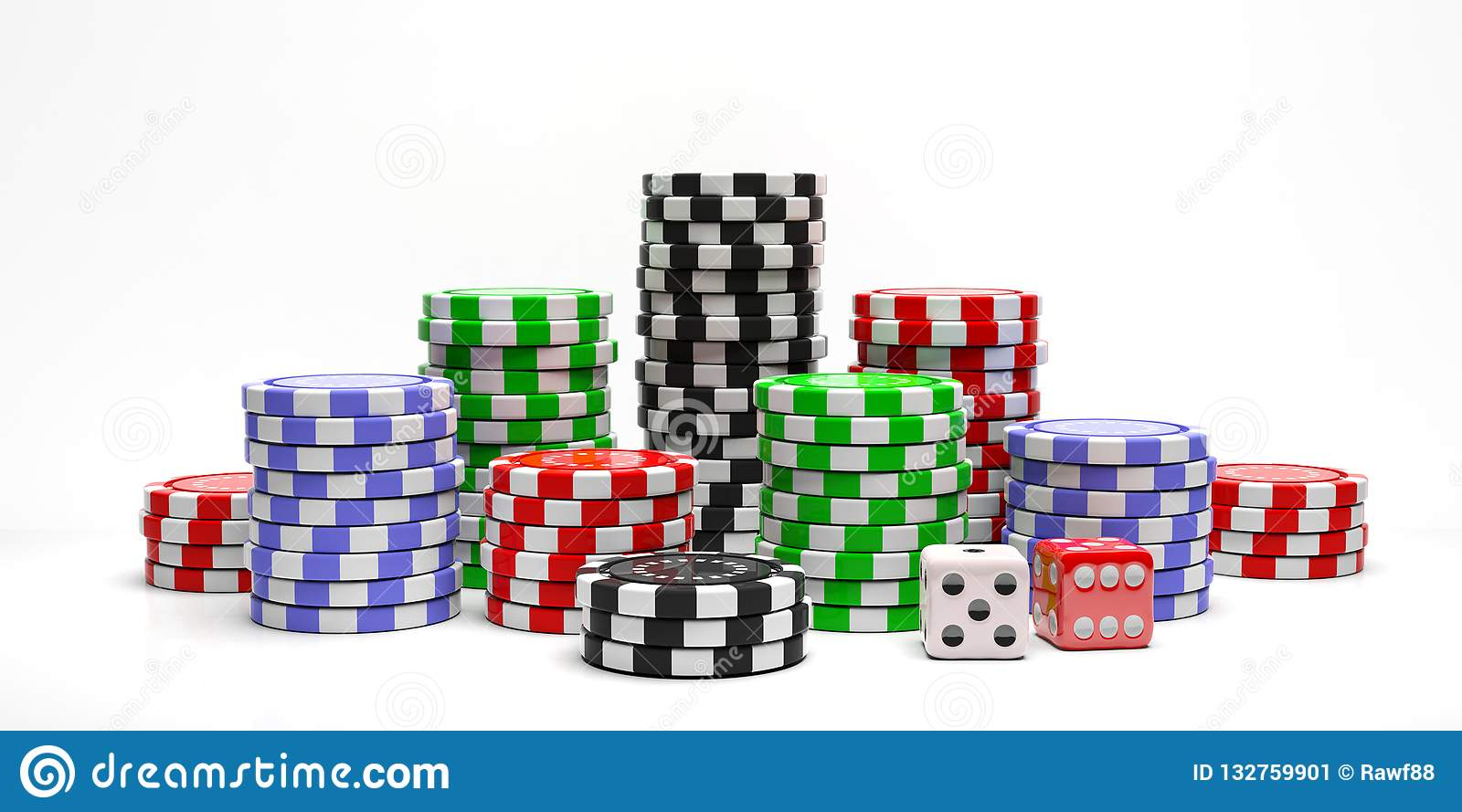 Poker chips piles and dice isolated on white background. 3d illustration