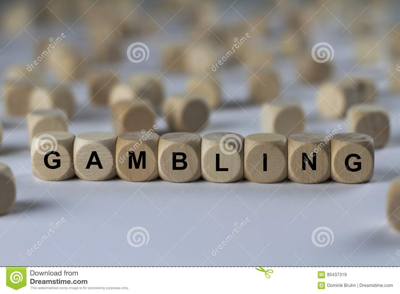 Gambling - cube with letters, sign with wooden cubes