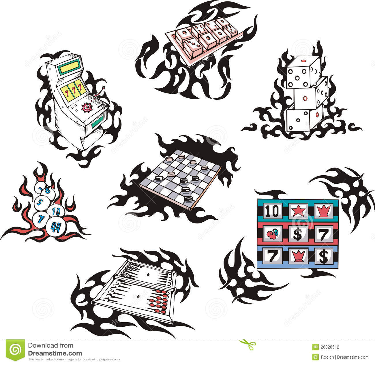 Gambling tattoos with flames stock photography image for Bingo tattoo ideas