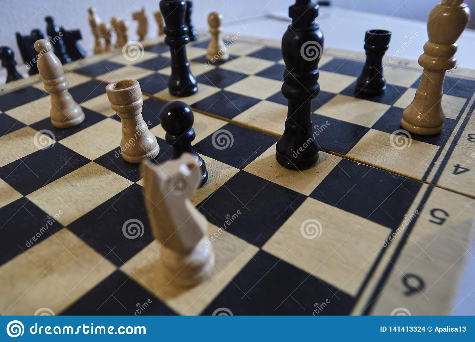 Game of chess, white king in trouble, horse in trouble, checkmate in one move