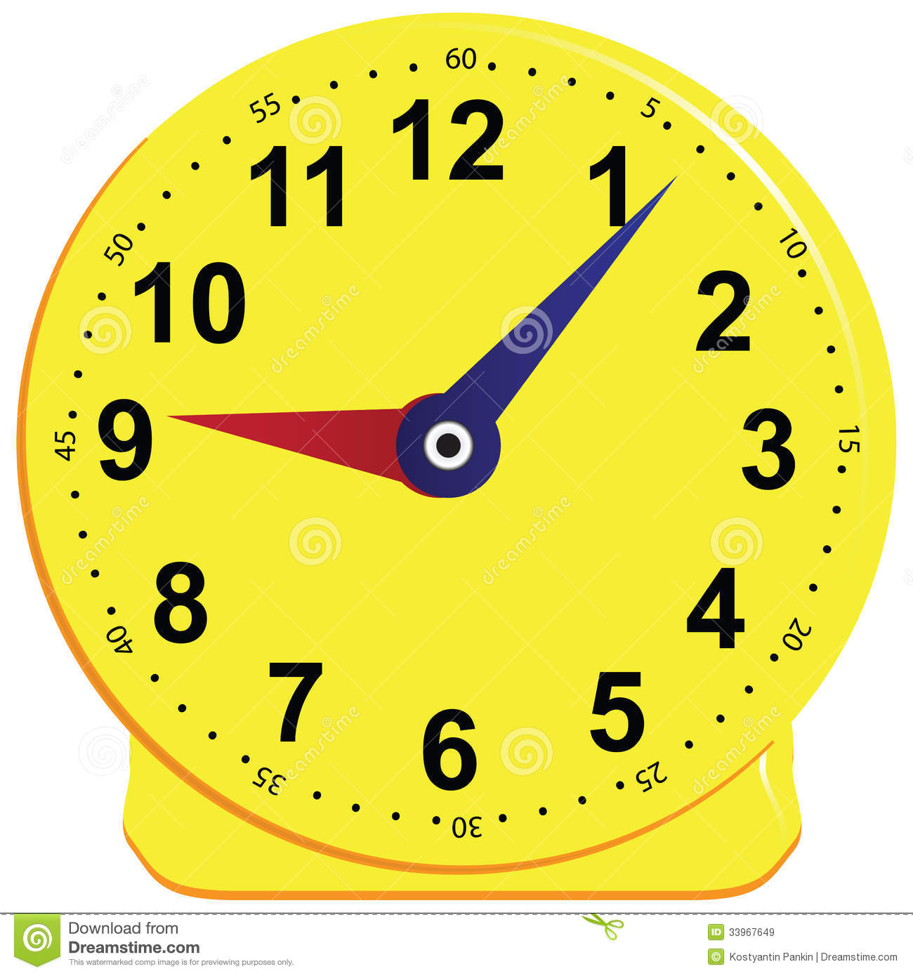 Yellow Time Teaching Clock Stock Images - Image: 29662354