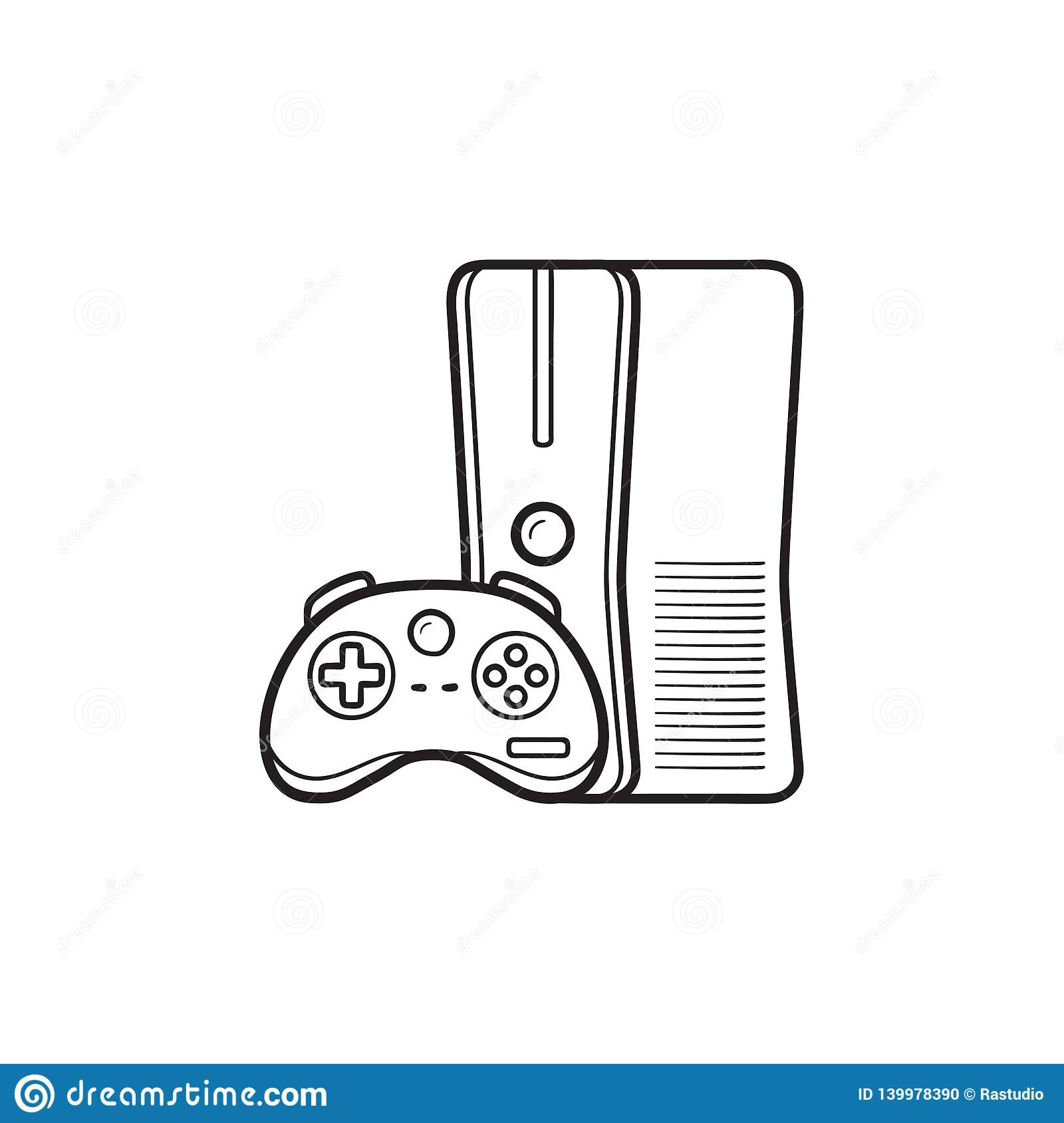 Game Console With Joystick Hand Drawn Outline Doodle Icon Stock