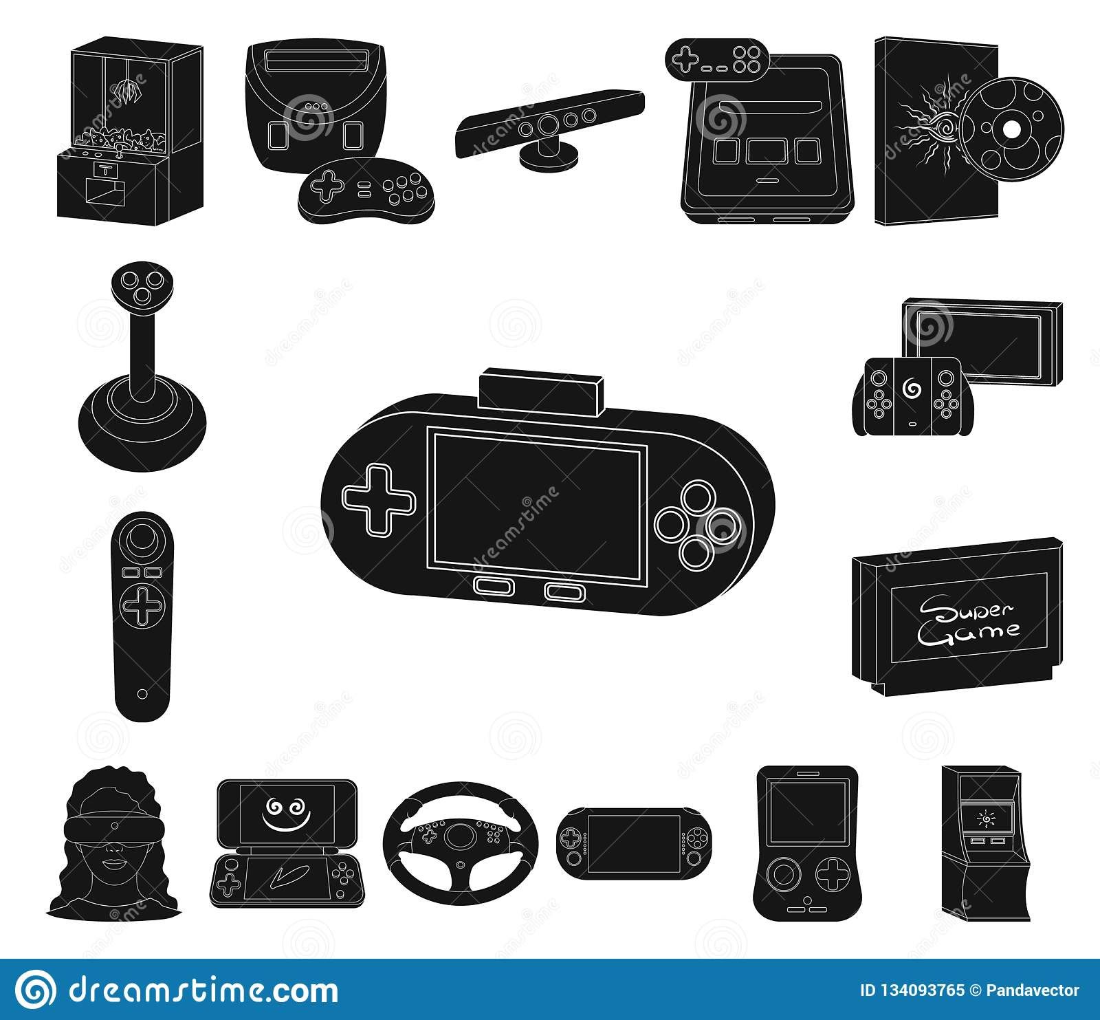 86a26c9aa8a9 Game console and virtual reality black icons in set collection for design.Game  Gadgets vector symbol stock illustration.