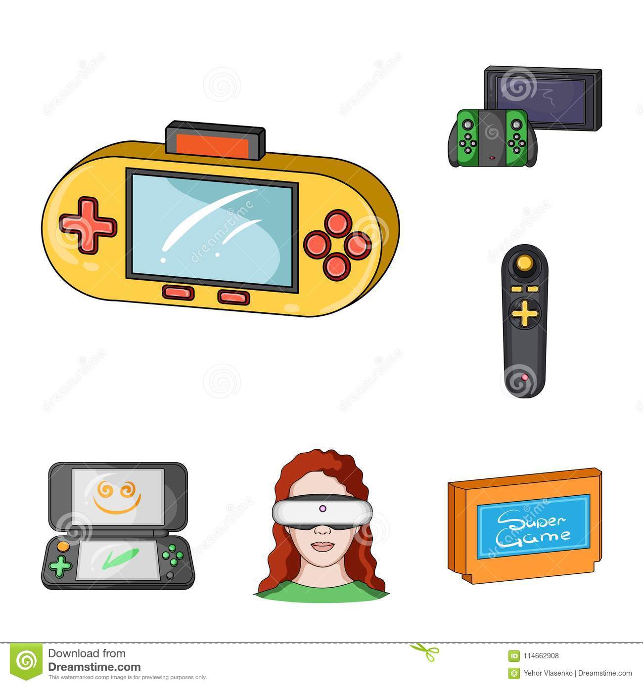 Game Console And Virtual Reality Cartoon Icons In Set Collection For