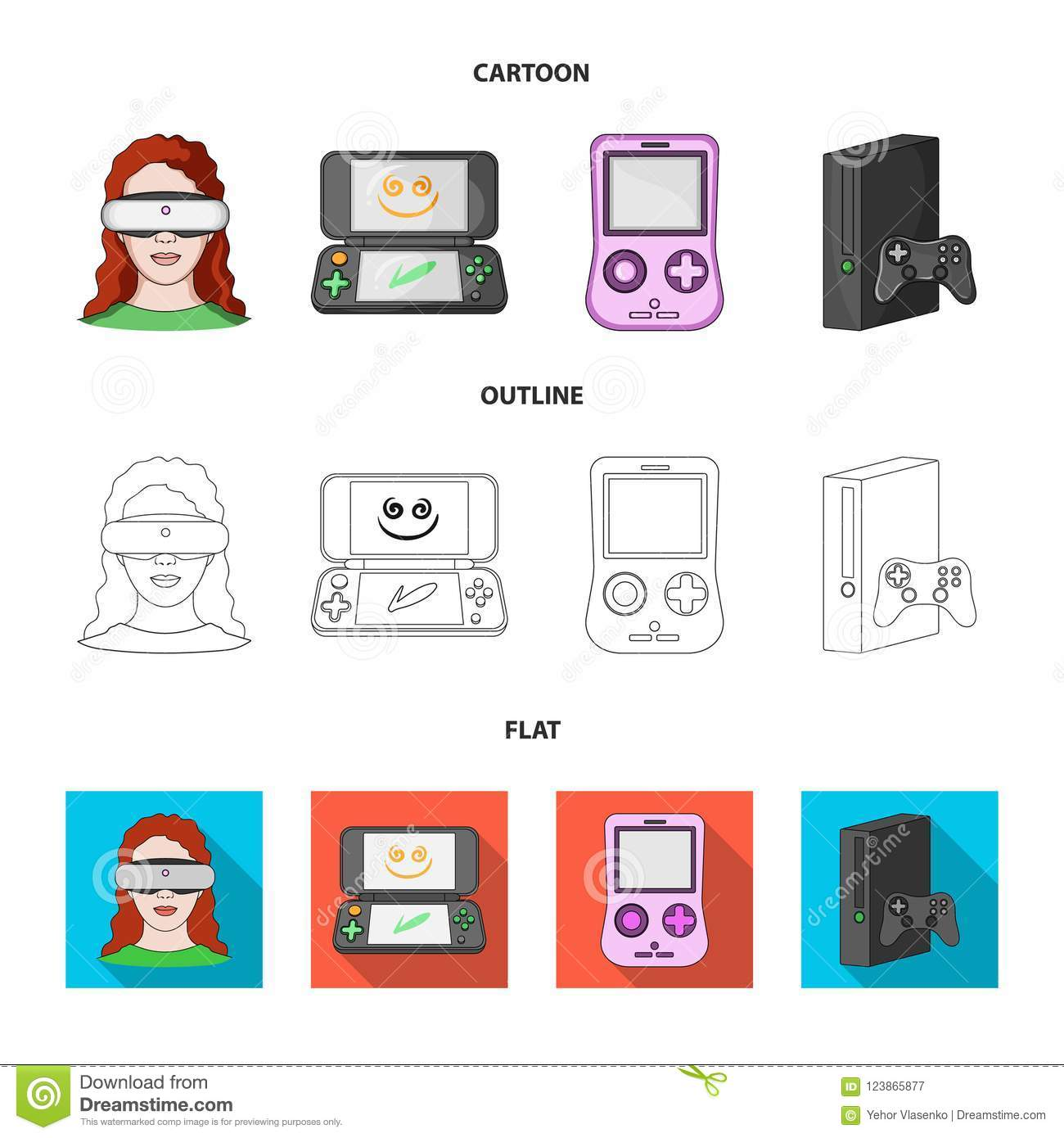 bf7b9ee53854 Game Console And Virtual Reality Cartoon