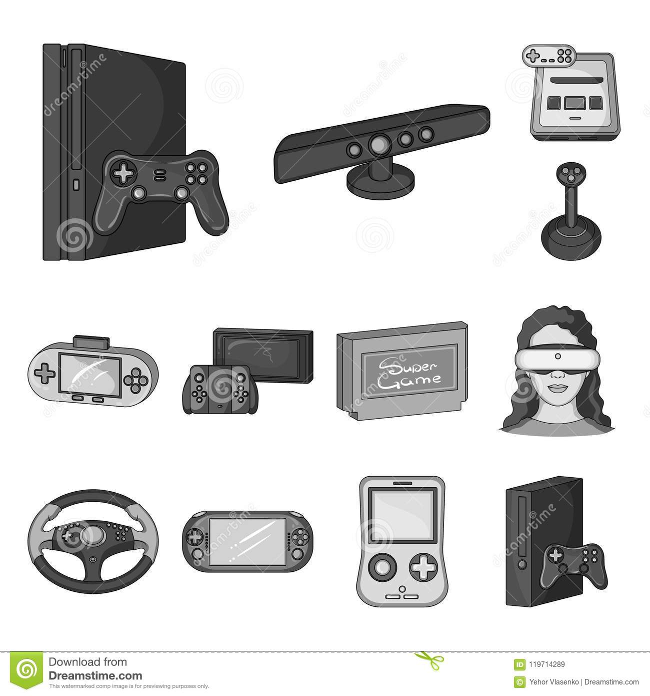 f3b2d12cee2a Game console and virtual reality monochrome icons in set collection for  design.Game Gadgets vector symbol stock illustration.