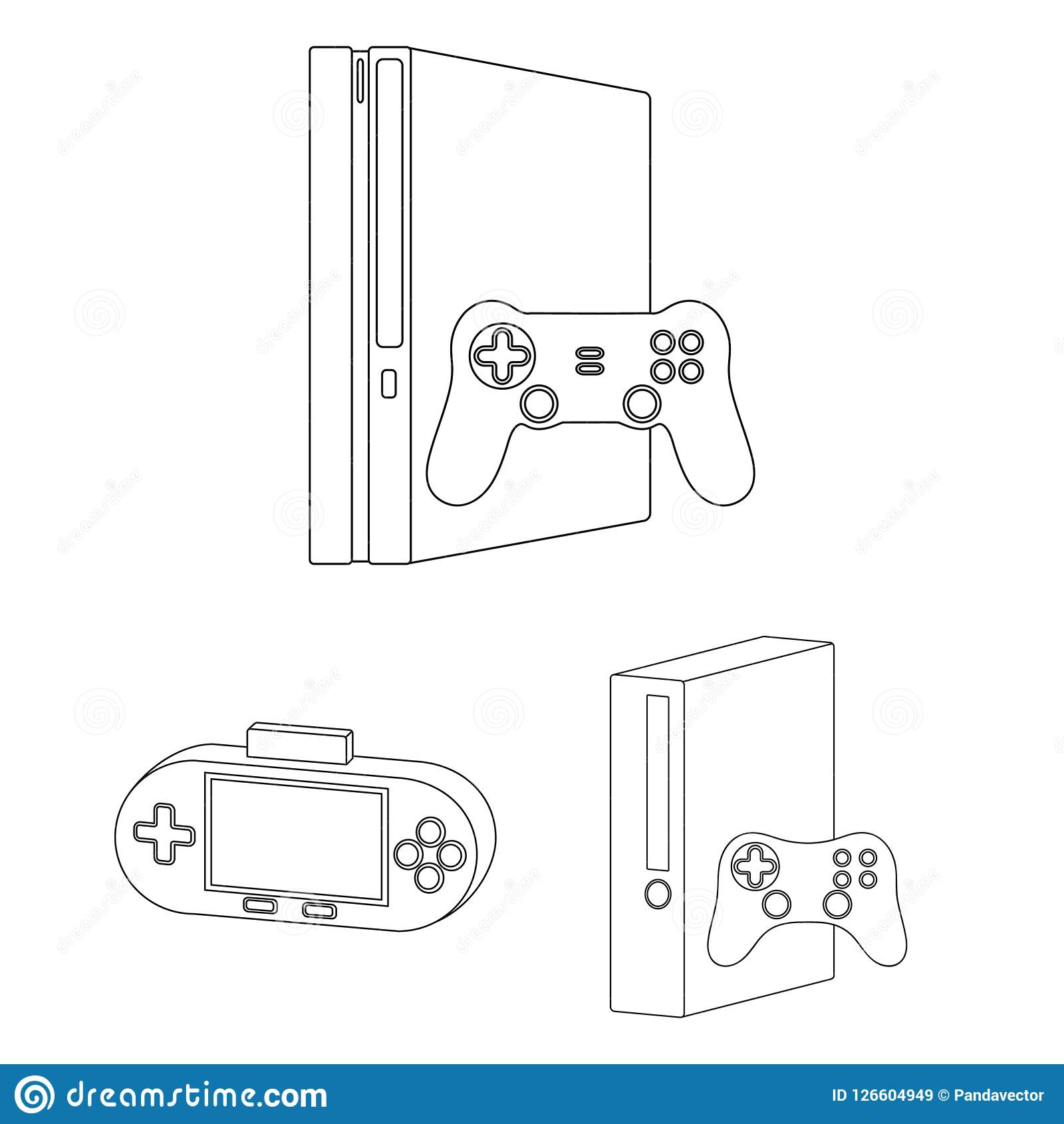 8fc31afb4a25 Game console and virtual reality outline icons in set collection for design. Game Gadgets vector symbol stock illustration.
