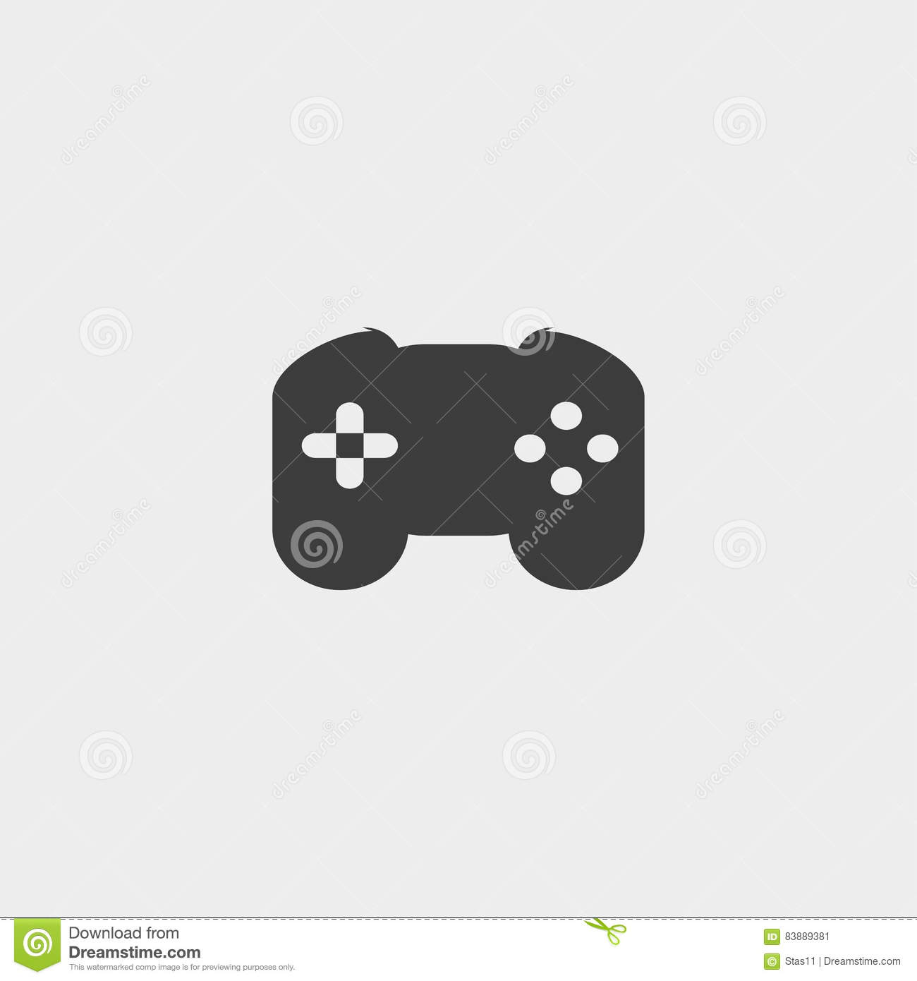 Game Controller Icon In A Flat Design In Black Color. Vector ...