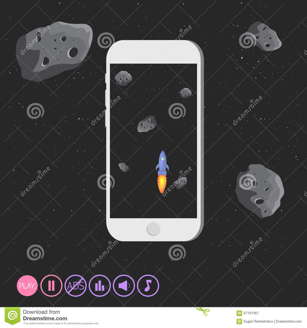 Game Design App Space Asteroids Stock Vector Image